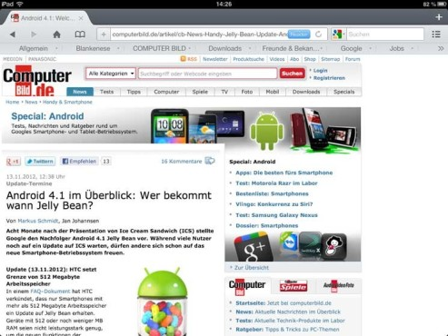 Screenshot Mercury Browser ©COMPUTER BILD