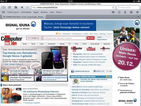 Screenshot iCab mobile ©COMPUTER BILD