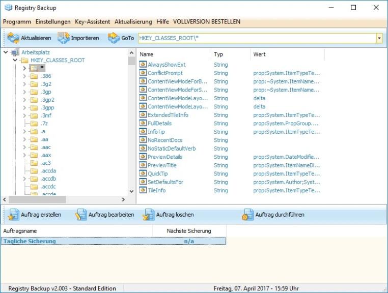 Screenshot 1 - Registry Backup