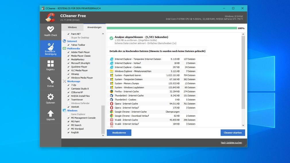 Verlauf löschen: So funktioniert es bei Firefox, Google Chrome, Opera & Co. Mit dem CCleaner (Crap Cleaner) machen Sie neben Windows Browser blitzblank.
