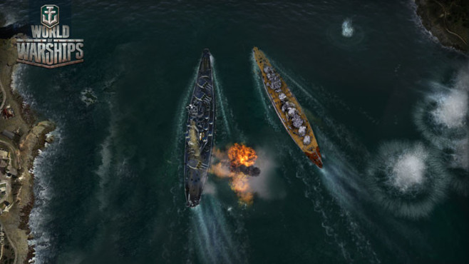 Actionspiel World of Warships: Vogelperspektive © Wargaming.net