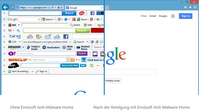 Internet Explorer unter Windows 8 mit und ohne Toolbars©Emsisoft