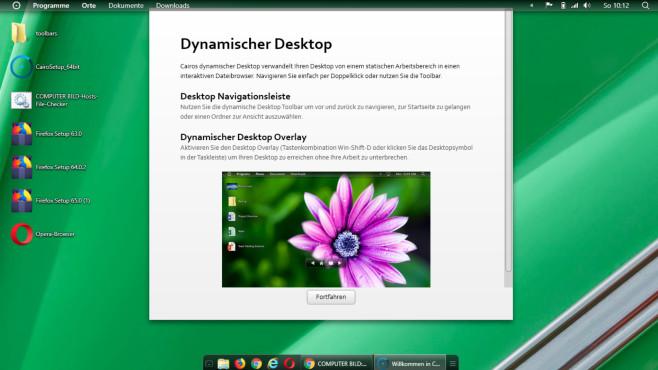 """Toolbar entfernen: So geht es – und warum das mittlerweile fast überflüssig ist Die Desktop-Umgebung """"Cairo Desktop"""" hüllt Windows in neue Kleider. Das Ganze ist konfigurierbar.©COMPUTER BILD"""