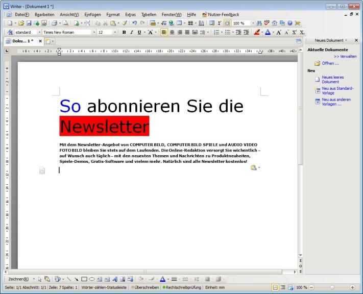 Screenshot 1 - Kingsoft Writer Free 2012