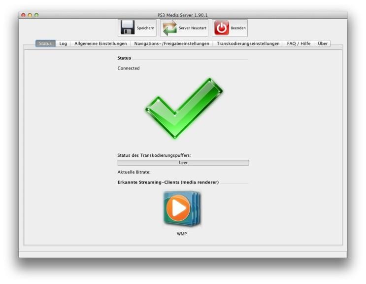 Screenshot 1 - PS3 Media Server (Mac)