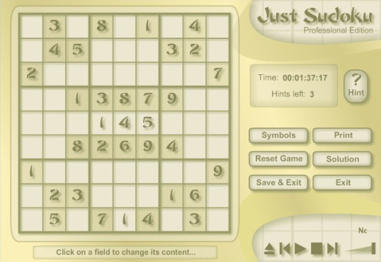 Just Sudoku Professional Edition © M. Flueckiger