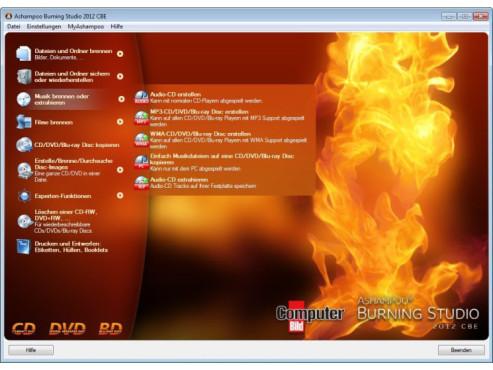 Ashampoo Burning Studio 2012 – Kostenlose Vollversion ©COMPUTER BILD