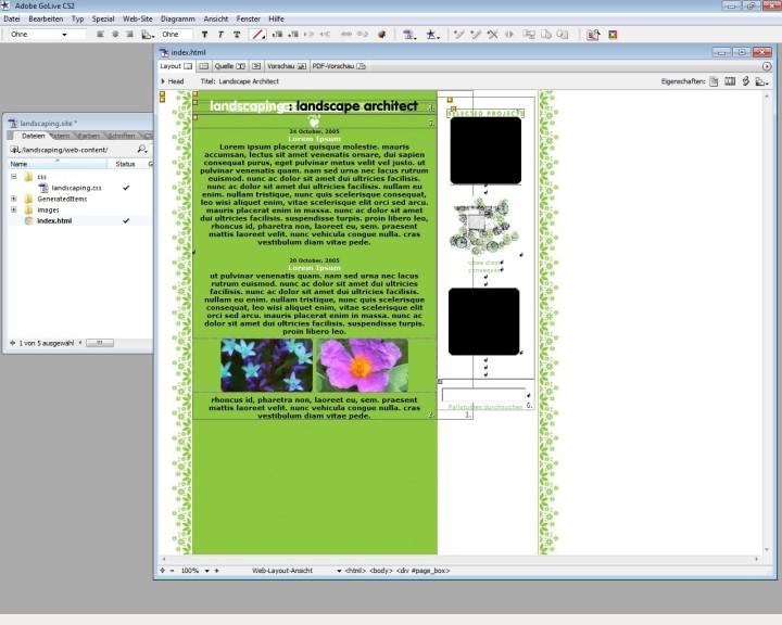 Screenshot 1 - Adobe GoLive CS2 – Vollversion