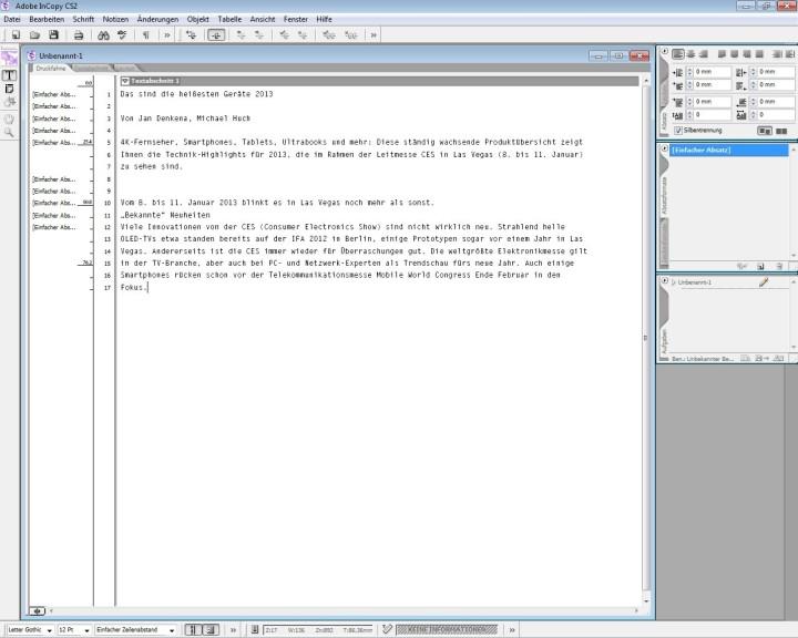 Screenshot 1 - Adobe InCopy CS2 – Vollversion