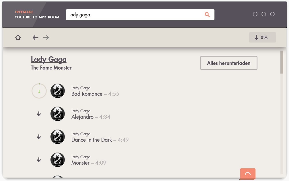 Screenshot 1 - Freemake YouTube To MP3 Boom