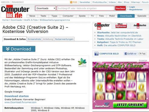 COMPUTER BILD-Downloadseite ©COMPUTER BILD