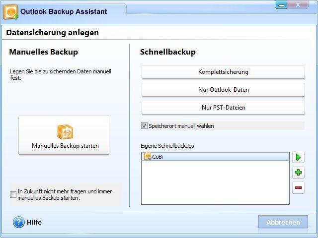 Screenshot 1 - Outlook Backup Assistant