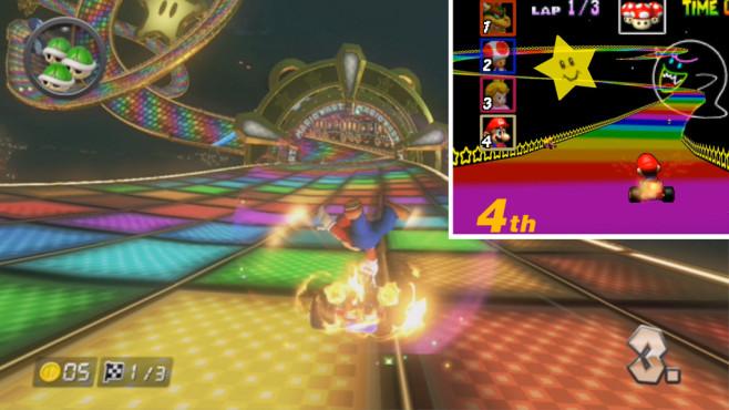 Mario Kart 8: Vollgas über Kopf verliebt Alte (N64) und neue Regenbogen-Strecke (WiiU) im Vergleich.©Nintendo