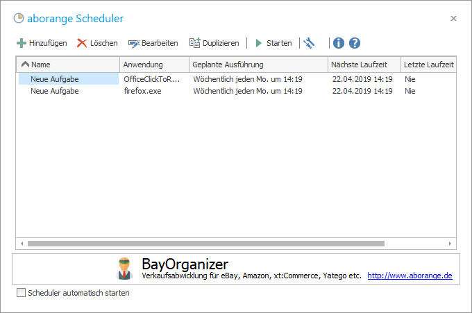 Screenshot 1 - Aborange Scheduler