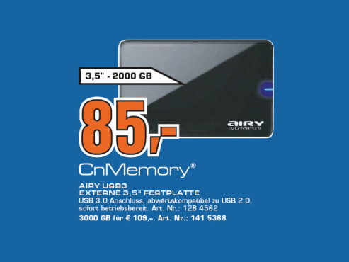 CnMemory 3.5 Airy USB 3.0 2TB ©Saturn