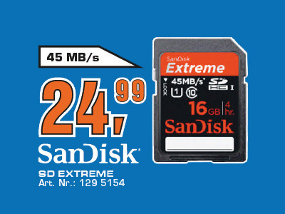 Sandisk Extreme HD Video SDHC 16GB Class 10 UHS-I (SDSDX-016G) ©Saturn