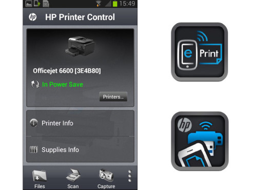 Hewlett-Packard ePrint und Printer Control © Hewlett-Packard