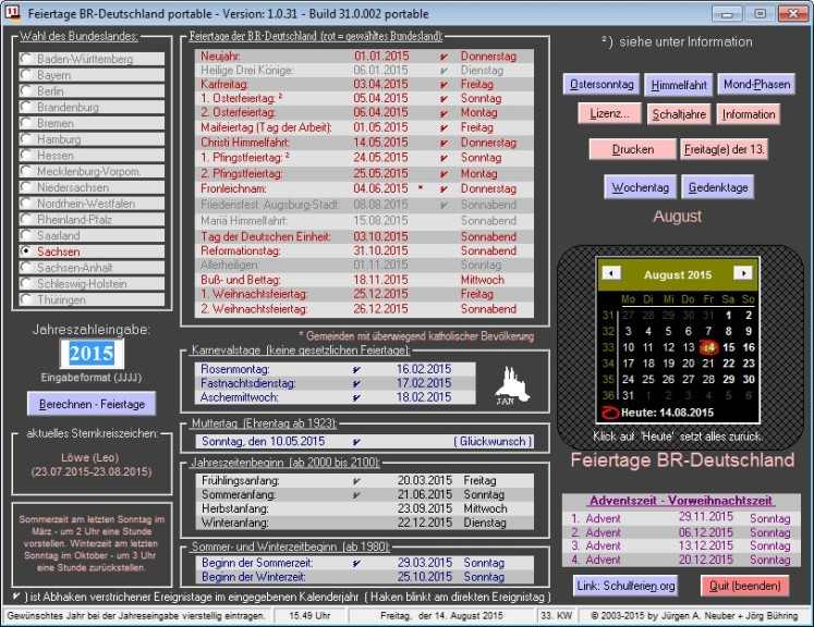 Screenshot 1 - Feiertage BRD Portable