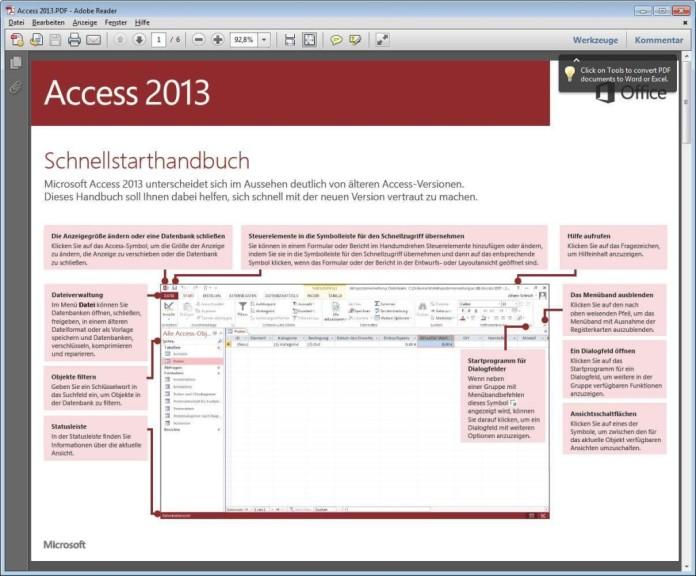 Screenshot 1 - Microsoft Office 2013 (Schnellstart-Handbuch als PDF)