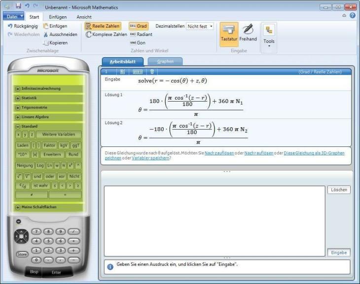 Screenshot 1 - Microsoft Mathematics (64 Bit)