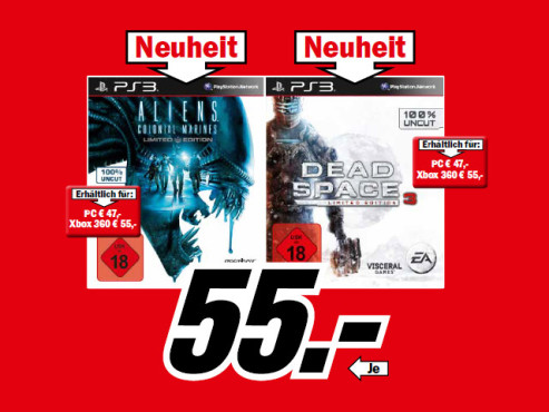 Aliens: Colonial Marines – Limited Edition und Dead Space 3: Limited Edition (beide PS3) ©Media Markt