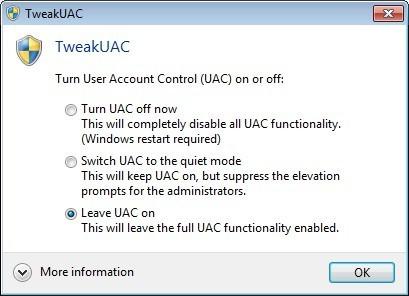 Screenshot 1 - TweakUAC
