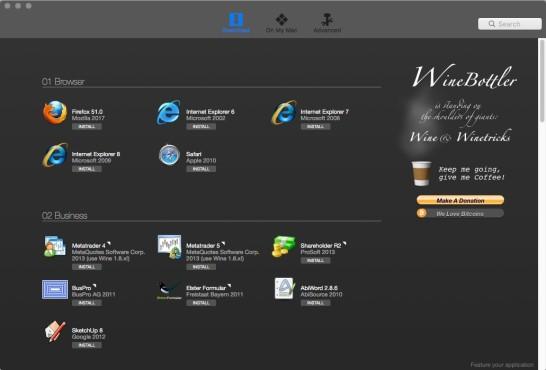 Screenshot 1 - WineBottler (Mac)