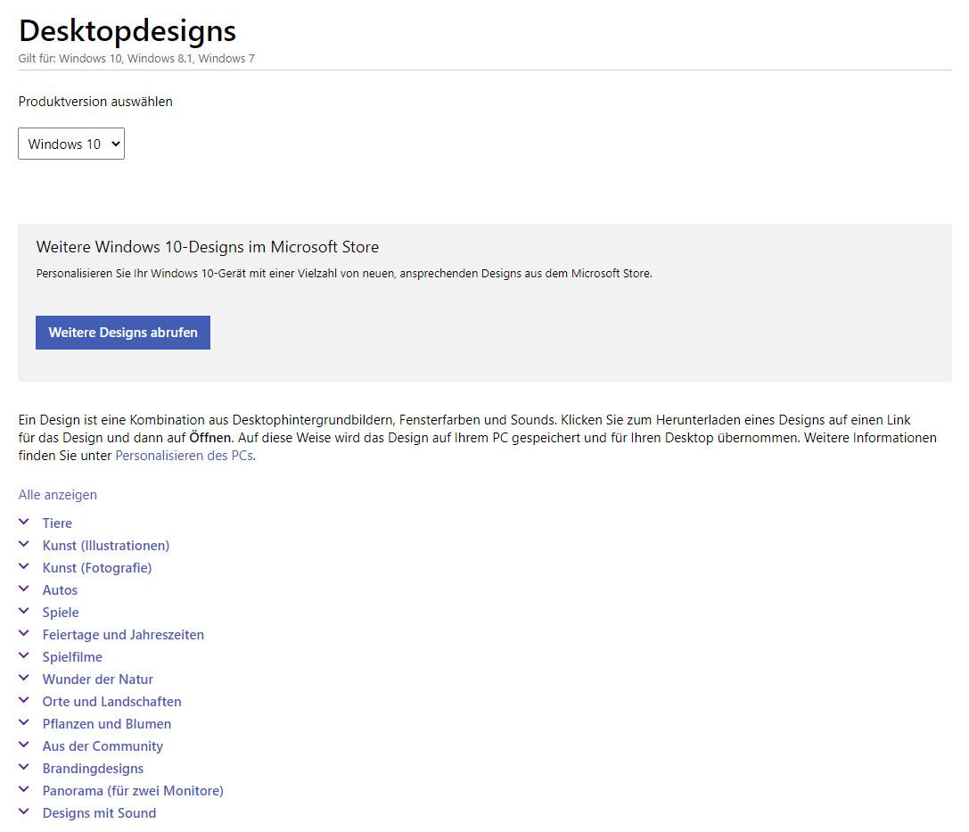 Screenshot 1 - Windows 7/8/10: Theme-Pack von Microsoft