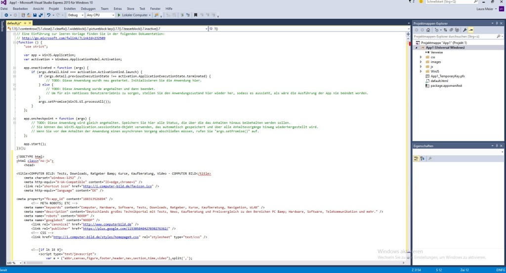 Screenshot 1 - Visual Studio Express 2015 für Windows 10
