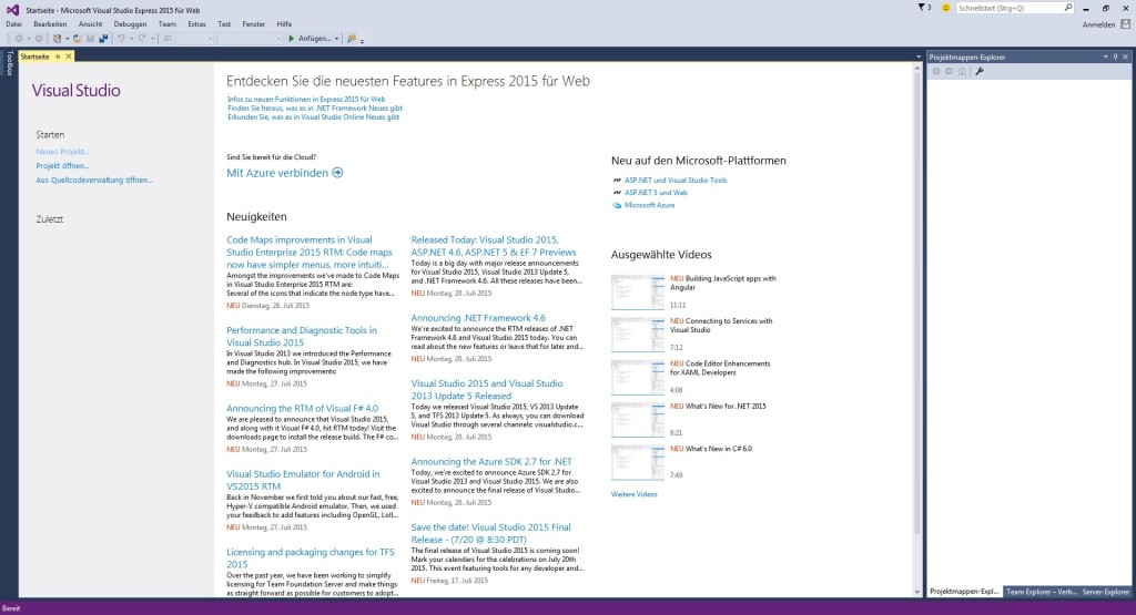 Screenshot 1 - Visual Studio Express 2015 für das Web