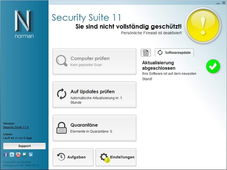 Screenshot 1 - Norman Security Suite (64 Bit)