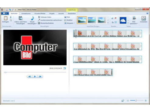 Windows Movie Maker 2012 ©COMPUTER BILD