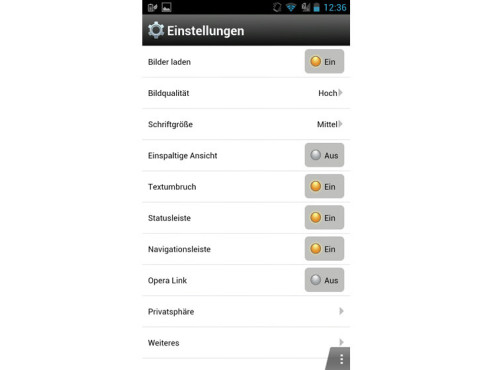 Opera Mini – Einstellungen © computerbild.de