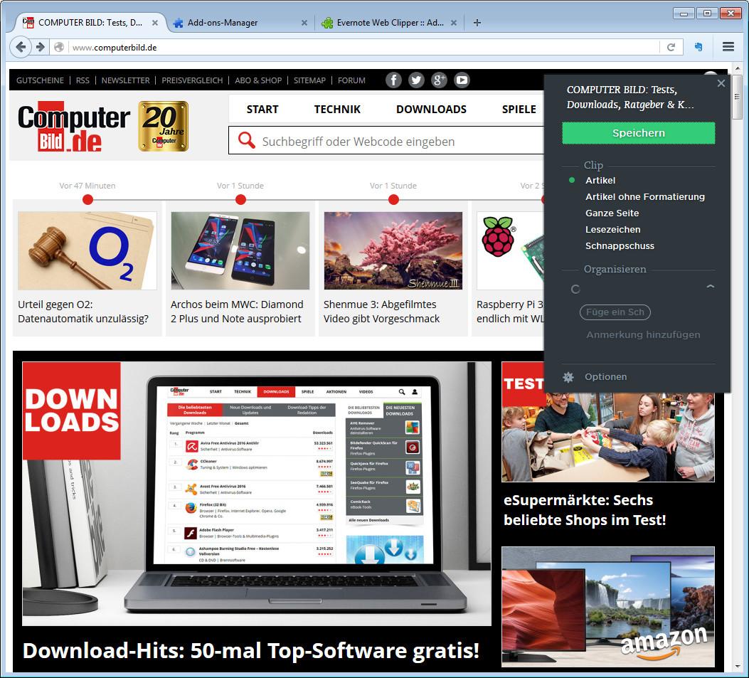 Screenshot 1 - Evernote Web Clipper für Firefox