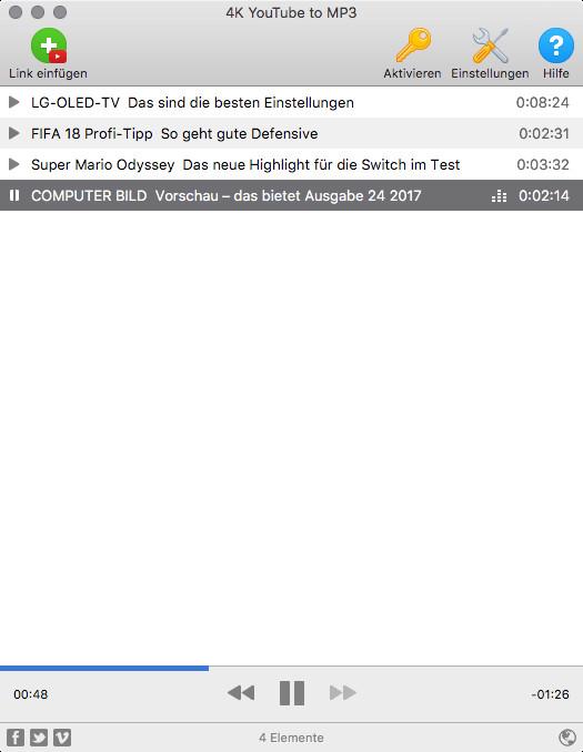 Screenshot 1 - 4K YouTube to MP3 (Mac)
