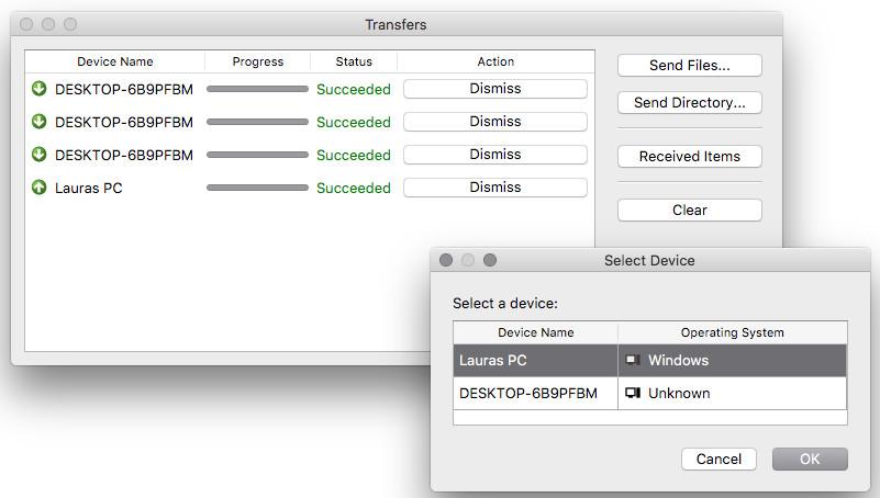 Screenshot 1 - NitroShare (Mac)