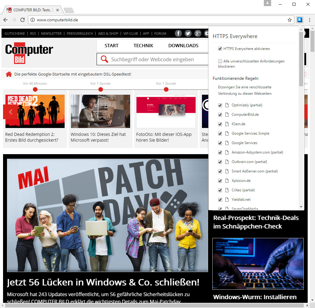 Screenshot 1 - HTTPS Everywhere für Chrome