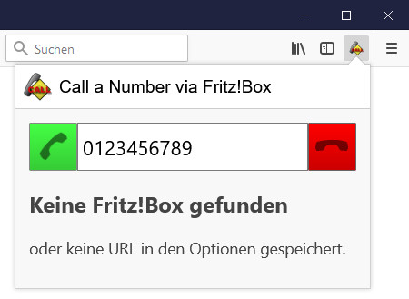 Screenshot 1 - Call a Number via FritzBox für Firefox