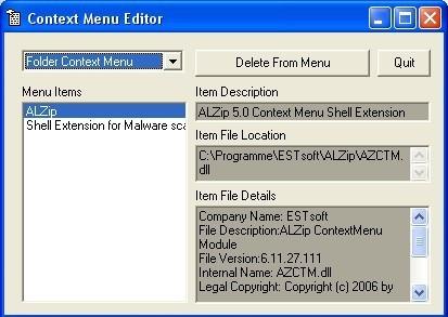 Screenshot 1 - Context Menu Editor