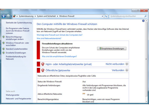 GodMode: Windows-Firewall einstellen © COMPUTER BILD