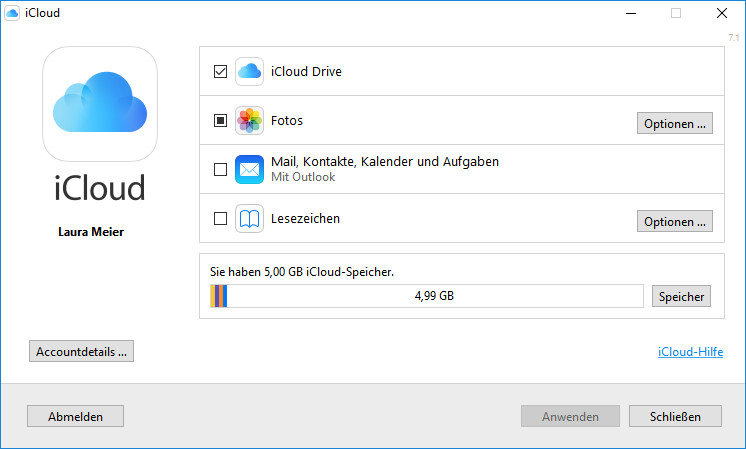Screenshot 1 - iCloud Control Panel for Windows