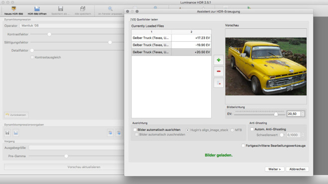 Luminance HDR (Mac) ©COMPUTER BILD