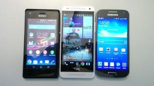 Größenvergleich Sony Xperia M, HTC One mini und Samsung Galaxy S4 mini©COMPUTER BILD