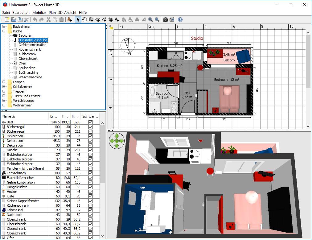 Screenshot 1 - Sweet Home 3D Portable