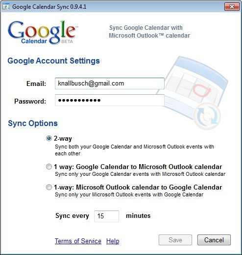 Screenshot 1 - Google Calendar Sync