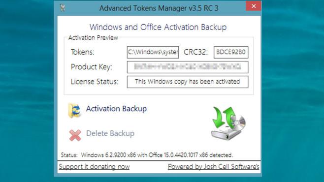 Advanced Tokens Manager: Windows- und Office-Aktivierung sichern ©COMPUTER BILD