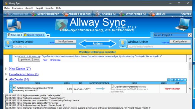 Allway Sync: Dateien synchronisieren ©COMPUTER BILD