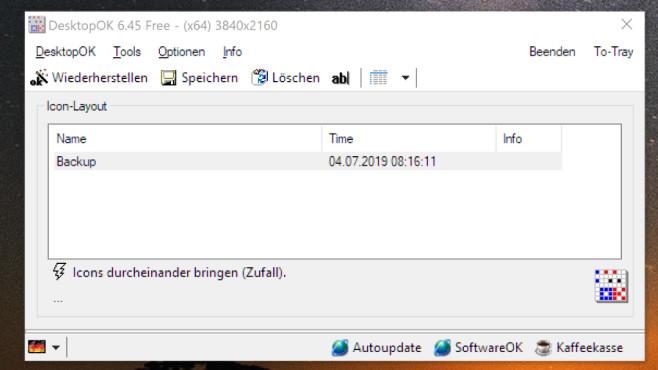 DesktopOK: Symbol-Anordnung auf dem Desktop sichern ©COMPUTER BILD