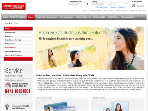 Screeshot www.onlinefotoservice.de ©Cewe