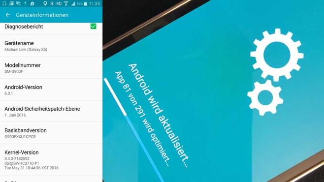 Update: Android 6.0.1 für Galaxy S5©COMPUTER BILD